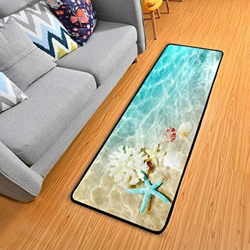 Starfish Coral And Seashell On The Summer Beach Runner Rug Bath Rug Kitchen Mat Doormat Large Runner Carpet 72' X 24'