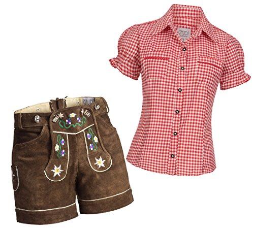 Gaudi-Leathers Dames Set: Lederhosen Shorts in Donkerbruin Kleurrijke Bloem Borduurwerk 36 + Blouse Mala Rood Wit Geruit 46