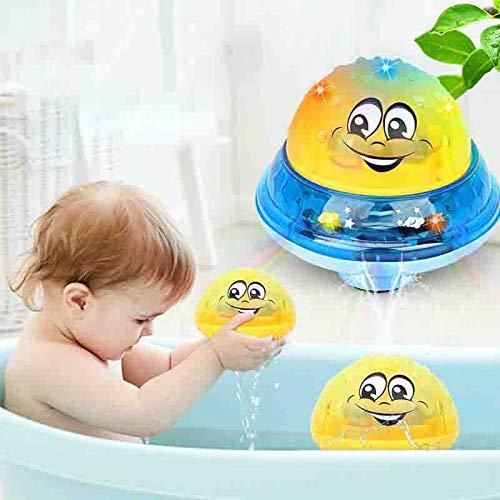 Bathly Water Toy, Juguete de rociado de Agua de inducción 2 en 1 y Juguete de Agua para rociadores de baño de Ducha de bebé para niños con música y Luces Intermitentes Bathtime (Amarillo con Soporte)