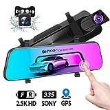DMYCO Dashcam Rückfahrkamera Autos Parkmonitor Video Recorder 10'Spiegel und 2560P Vorderansicht, 1080P Rückansicht, externes GPS, G-Sensor,Super Night Vision