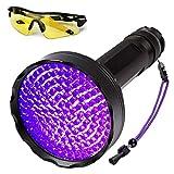 Linterna de bolsillo UV luz, 128 ledes, lámpara negra para detector orina animales, ultravioleta, antorcha con gafas la perro, las manchas animales
