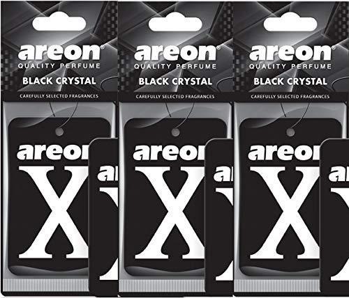 Areon X Version Deodoranti per auto con cristalli neri, set da 3 pezzi