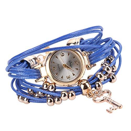 ROVNKD Women's favourite quartz watch bracelet flower gemstone wristwatch, multiple colours. - Blue - One size fits all