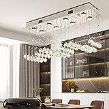 Modern K9 Crystal Raindrop Chandelier Lighting Flush Mount Ceiling Light Fixture for Dining Room,Lobby,Kitchen Island (8 Lights)