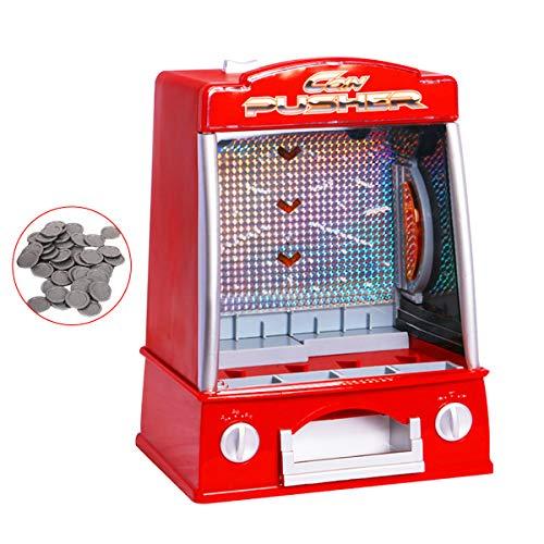 DREAMADE Münzschieber Spielautomat mit Spielmünzen, Geldspielautomat, Coin Pusher Automatisch für Kinder, mit Soundeffekte und Licht, Münze Drücker Spielzeug, Rot