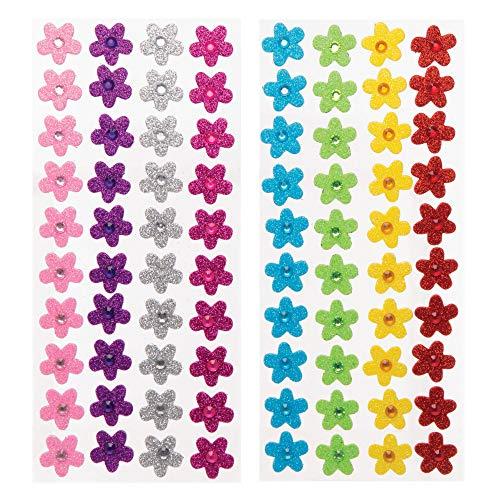"""Baker Ross Moosgummi-Aufkleber """"Blumen mit Schmucksteinen"""" (80 Stück) – für Kinder zum Basteln und Gestalten im Frühling"""