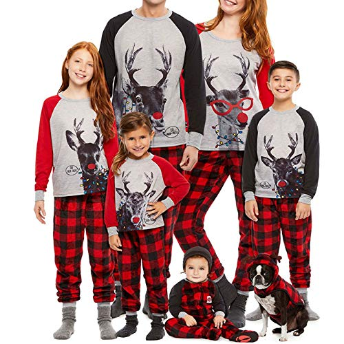Family Christmas Pjs Matching Sets Baby Christmas Matching Jammies for Adults and Kids Holiday Xmas Sleepwear Set (Style-B, M(Mom))
