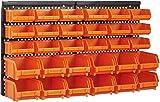 Queta 2 paneles de pared Organizador de herramientas con 30 piezas de cajas apilables material ABS Estantería de Bricolaje para Pared 320 * 410 * 17mm
