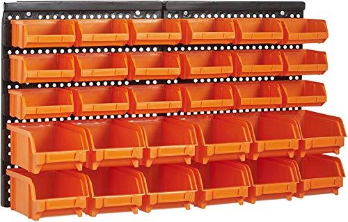 Queta 2 Paneles de Pared Organizador de Herramientas con 30 Piezas de Cajas apilables Material ABS Estantería de Bricolaje para Pared 320 * 410 * 17mm (Tipo 1)