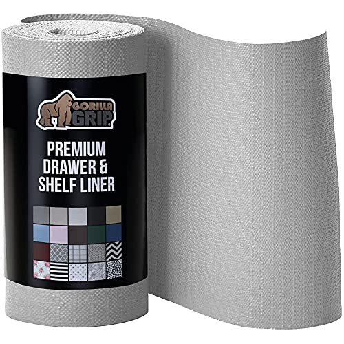 Gorilla Grip Smooth Top Slip Resistant Drawer and Shelf Liner, Non Adhesive Waterproof Roll, Durable Plastic Liners for Kitchen Cabinet Shelves Drawers and Desks, 17.5 Inch x 20 FT, Light Gray