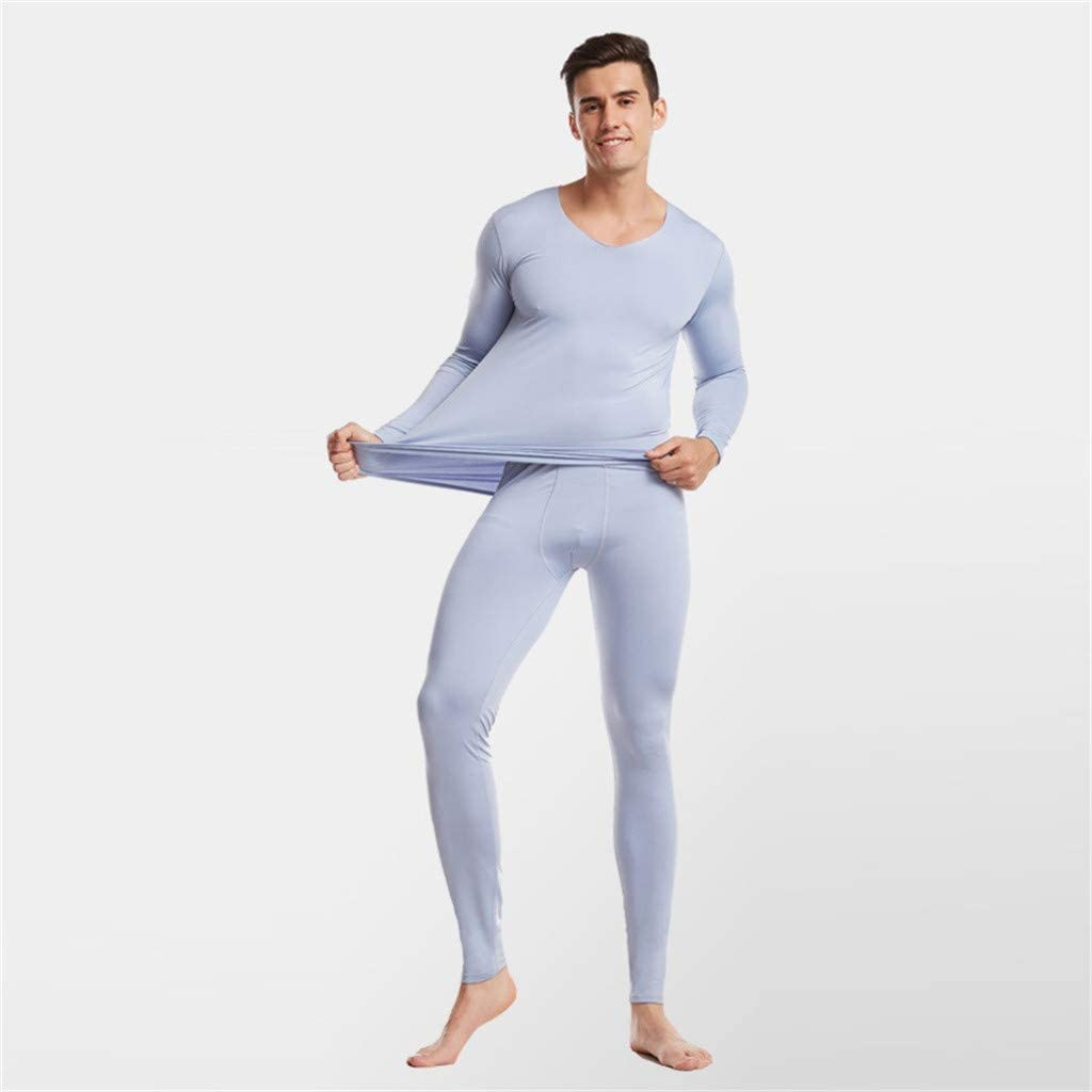 Mens Lightweight Thermal Underwear No Line, Winter Long Johns Set Men Cold Weather Skiing Base Layer(Gray,XXXL)
