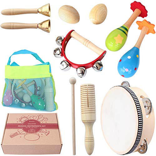 Benelet Wooden Musical Instruments Set for Children,Safe and Friendly Natural Materials,Kid's Music Enlightenment,Percussion Instrument Music Toys Kit for Preschool Education,Storage Mesh Bag