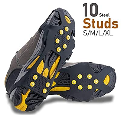 Helonge Ice Grips for Shoe Boot, Snow Anti-Slip Crampons, 10 Studs Traction Cleats Rubber Spikes for Kids Women Men (Extra Large(Women 4-6/Men 8.5-13)
