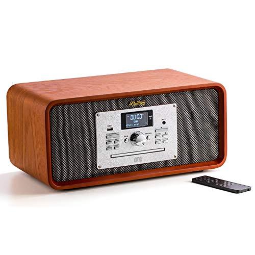 Shuman FM/Dab/Dab + Radio Retro de Madera, Reproductor de CD/USB/Bluetooth/RCA/AUX IN/Función de Grabación Potencia de Salida 10 Vatios (MC-276 Marrón Claro)