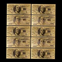 10pcs replica USA 100 Dollar Gold Banknote Currency Bill Paper Money Coin Medal 24k United States OF America Commemorative
