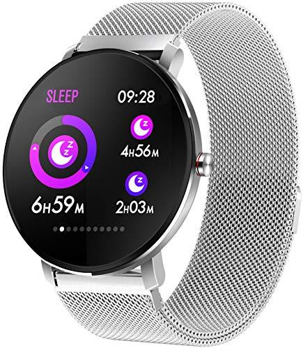 Silber Fitness Armband Voll Touchscreen Smartwatch IP68 wasserdichte Schlafanalyse Kalorienzähler Schrittzähler Aktivitätstracker Anruf Nachrichtenerinnerung