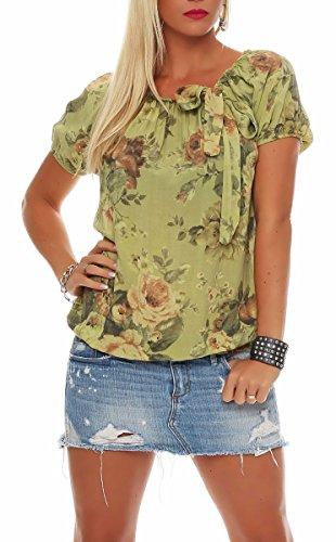 Malito Damen Blusenshirt mit Blumen Print   Oberteil mit Schleife   Hemdbluse - Tunika - modern 3443 (Pistazie)