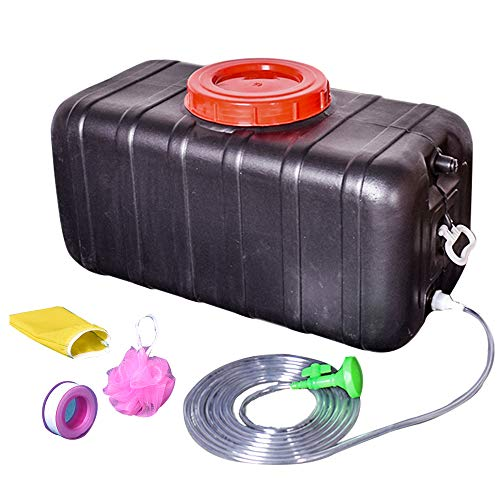 Sale!! Portable Outdoor Shower Storage Bucket with lid and Handle, Black Plastic Large Water Storage...