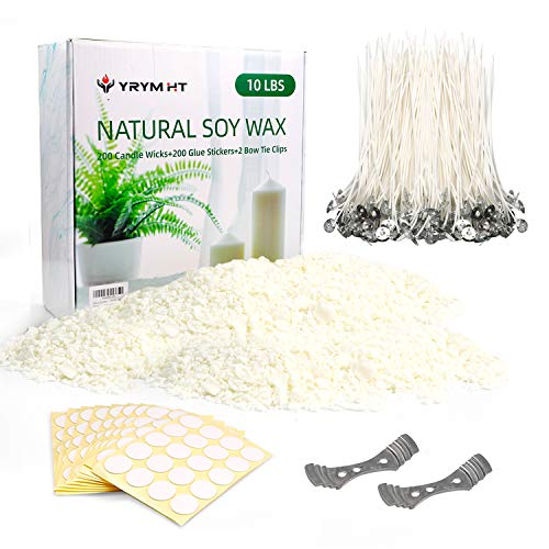 Soy Wax 10lb and Candle Making Supplies with 200,6-Inch Pre-Waxed Wicks, 200 Candle Wick Stickers and 2 Centering Devices