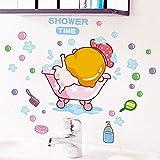 Adhesivo de pared Baby Shower Time Adhesivo de pared para habitaciones de bebé baño de vidrio decoración del hogar calcomanías papel tapiz ducha pegatinas lindas