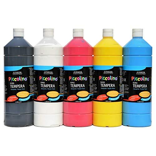 Piccolino Schul-Tempera Primär Farben Set 5x1000ml - 5 tolle Farben in der 1 Liter Flasche, gebrauchsfertige Ready-Mix Gouache