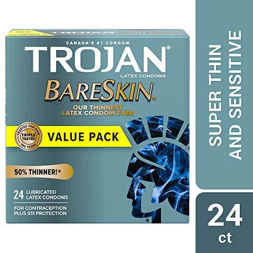 Trojan Sensitivity Bareskin with Brass Lunamax Pocket Case, Premium Lubricated Latex Condoms-24 Count