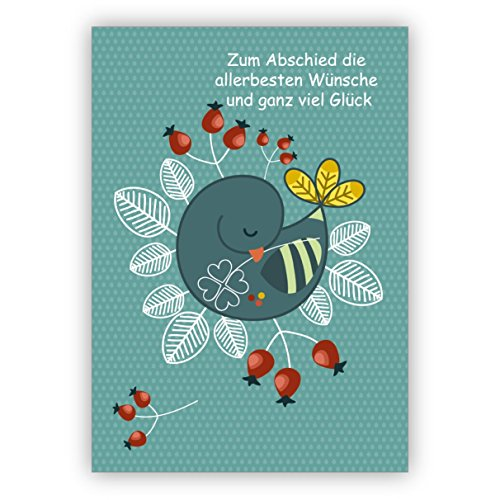 Mooie gepensioneerde kaart met duif en klavertje: ter afscheid de allerbeste wensen en veel geluk. • Gefeliciteerd met spreuk om af te scheiden, pensionering van collega's, vrienden