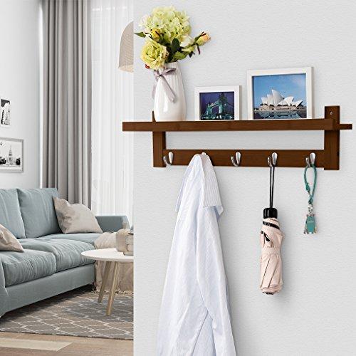 LANGRIA Coat Rack Shelf, Coat Rack Wall-Mounted Bamboo Wooden Hook Rack with 5 Metal Hooks and Upper Shelf for Storage Scandinavian Style for Hallway Bathroom Living Room Bedroom, Bamboo Brown Color