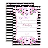 13th Birthday Invitations with Pink and Purple Watercolor Flowers and Striped Background, 20 5'x7' Fill In Cards with Twenty White Envelopes by AmandaCreation