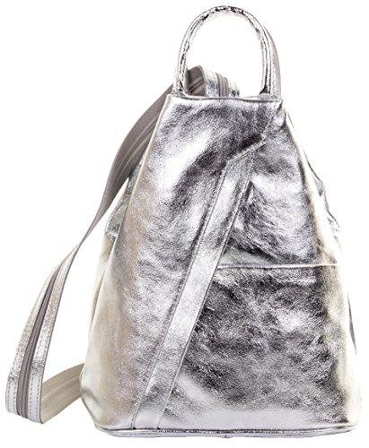 Primo Sacchi Damen Italienisches Leder Metallisch Silber Umhängetasche Rucksack Rucksack