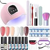 NICOLE DIARY Kit de inicio de esmalte de uñas de gel con lámpara de uñas de luz UV/LED 54W, base y capa superior, herramientas de manicura + 6 esmaltes de gel de colores clásicos populares (8 ml)