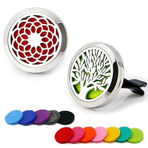 RoyAroma 2PCS 30mm Car Aromatherapy Essential Oil Diffuser, Stainless Steel Locket
