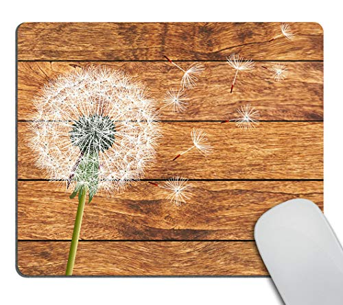 Smooffly Gaming Mouse Pad Custom,Dandelion on Vintage Wood Background Design Customized Rectangle Non-Slip Rubber Mousepad Gaming Mouse Pad