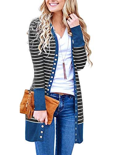 Basic Faith Women's S-3XL V-Neck Button Down Knitwear Long Sleeve Soft Knit Casual Cardigan Sweater Stripe Navy M