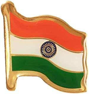 Biche Indian Metal Flag Badge for Shirt Dress Kurta Pant on Republic Day Independence Day 26th Jan Jai Hind Tricolor (Pack...