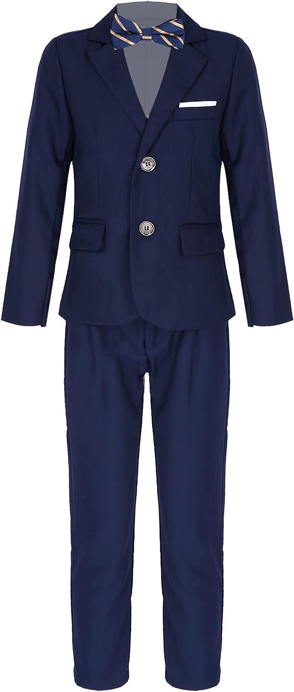 renvena Boys Formal Dresswear Suit Kids Button Down Blazer Jacket + Pants + Bow Tie Set for Wedding Party