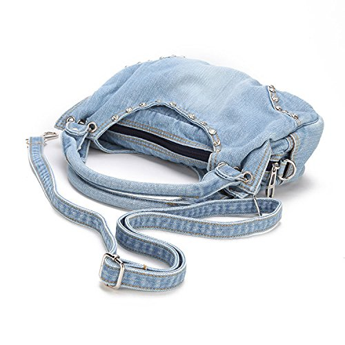 Donalworld Women Cute Flower Jeans Denim Tote Handbags Ltblue