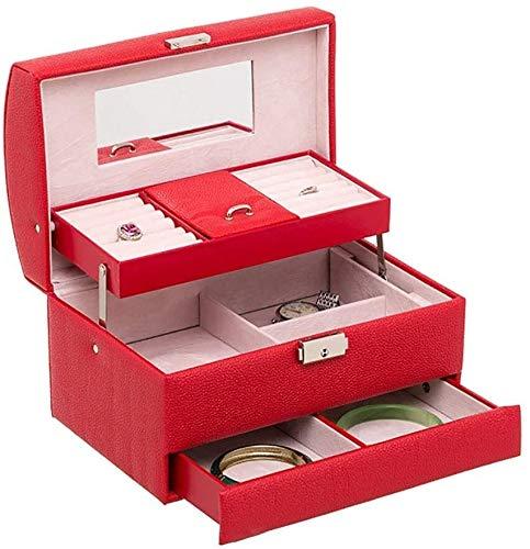 BESTPRVA Joyero Joyero organizadores for niñas Mujeres Collares Pendientes Anillos de la Vendimia Caja de Regalo Caja de exhibición de la joyería (Color : Red)