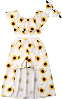 Lzxuan Baby Girls' Sunflower Print Ruffles Off-Shoulder Tops with Shorts Dress Skirts Headband Sets Outfits Clothes