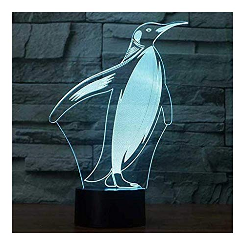 °nachtlicht Penguin 3D Illusion Lampe Led 7 Farben Berühren USB Schlafzimmer Schreibtischlampe for Kinder Weihnachtsgeburtstag-Geschenke Spielzeug Haus Dekoration Licht