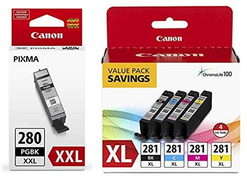 Canon CLI-281 XL BKCMY 4-Color Ink Tank Value Pack (2037C005) + Canon PGI-280 XXL Pigment Black Ink Tank (1967C001)