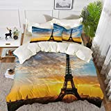 ropa de cama - Juego de funda nórdica, Torre Eiffel, Vista del amanecer de la Torre Eiffel, Ciudad famosa, Monumento de viaje, Destinati, Juego de funda nórdica de microfibra hipoalergénica con 2 Fund