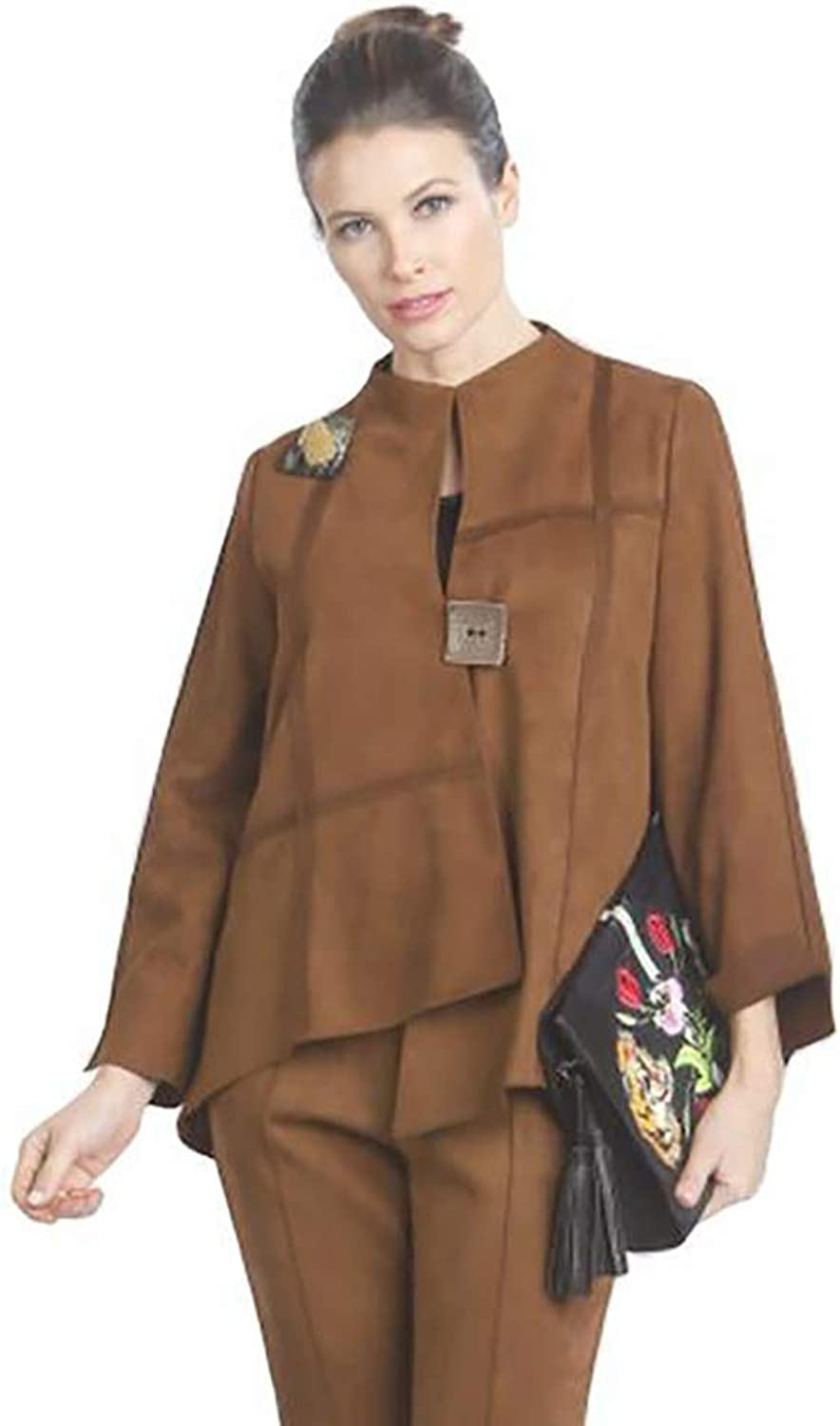 IC Collection Faux Suede HighLow Asymmetric Jacket in Camel  3993J