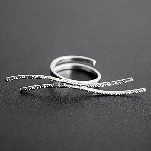 Minimaler Ring, edgy Sterling Silber Ring für Frauen, Wellenring, ungewöhnlicher Ring,ungewöhnlicher Schmuck, moderner Ring, Geschenk für Frauen, Geschenk