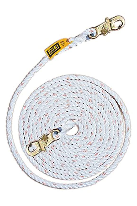 むちゃくちゃ波紋軍艦3M DBI-SALA 1202842 Dropline Rope, 100-Foot Polyester/Polypropylene Blend 5/8-Inch Diameter Rope With Snap Hooks At Both Ends, White by 3M Fall Protection Business