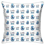 DHNKW Throw Pillow Case Cushion Cover,Doodle Style Love Sea Pattern Spiral Shells Summertime Marine Theme ,18x18 Inches