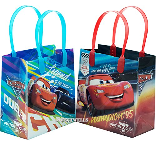 """Disney Car Mcqueen Lightning 12 Premium Quality Party Favor Reusable Goodie Small Gift Bags 6"""""""