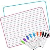 AGPTEK 2 set lavagna a righe cancellabile a secco con 10 pennarelli, lavagna foderata per bambini per l'apprendimento della scrittura (Tipo 2)
