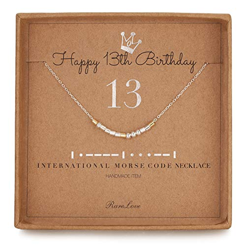 13th Birthday Jewelry Gifts For Girls 13 Morse Code Necklace 925 Sterling Silver Two Tone Bead Daughter Granddaughter Niece 13 Year Old Gift for Her