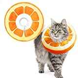 AprFairy Adjustable Cat Recovery Collar, Cute Orange Neck Kitten Collars After Surgery, Wound Healing Protective Soft Cone Collars for Cats and Kitten, Puppies(9.5 x 9.5 x 2 in)